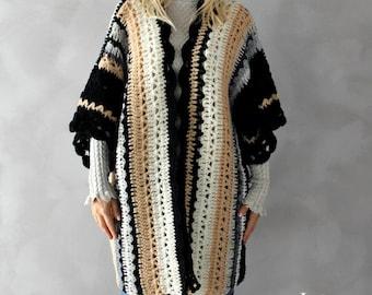Boho Cardigan Hand häkeln Womens Cardigan Plus Größe Pullover lange Strickjacke Plus Größe Strickjacke übergroße Kleidung Plus Größe Urlaub Kaftan