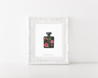 Chanel art print > Chanel painting > Poppy painting > poppy art print > wall art > Chanel illustration > floral art print > flower painting