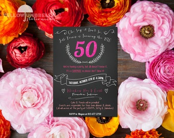 50th Surprise Party Invitation  with Envelope