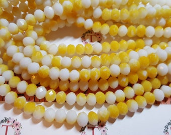 1 strand of 16 inches of 8x6mm Faceted Rondelle Half Yellow Mustard Opaque and White Chinese Crystal