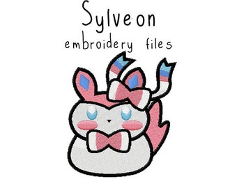 Pokemon Sylveon EMBROIDERY MACHINE FILES pattern design hus jef pes dst all formats Instant Download digital applique kawaii cute