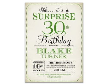 Surprise 30th Birthday Invitation / Any Age / Green / Retro / Digital Printable Invitation