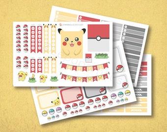 Pokemon EC Planner Stickers, matte or glossy planner stickers, life planner stickers, erin condren filofax, mambi happy planner