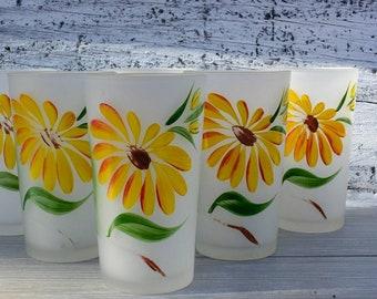 Set of 6 - Vintage Juice Glasses - Frosted Drinking Glasses - Mid Century Modern Glasses