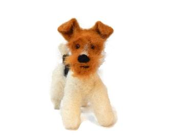 MINIATURE Wire Fox Terrier sculpture -  Custom pet portrait - Wire Fox Terrier Portrait