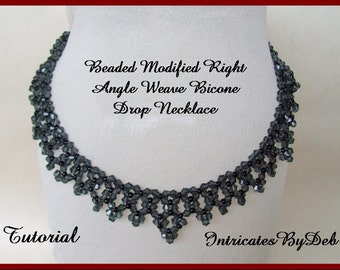 Tutorial Beaded Modified Right Angle Weave Bicone Drop Necklace - Jewelry Beading Pattern, Beadweaving Instructions, PDF, Do It Yourself