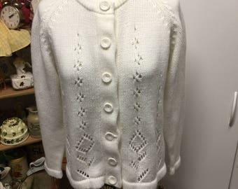 Vintage White Long Sleeve Sweater GlenLea Sweater Cardigan