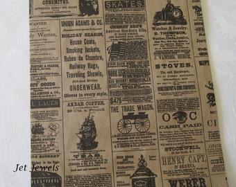 25 Paper Bags, Gift Bags, Newspaper Bags, Newsprint Bags, Newspaper Print, Party Favor Bags, Merchandise Bags, Vintage Style 8.5x11