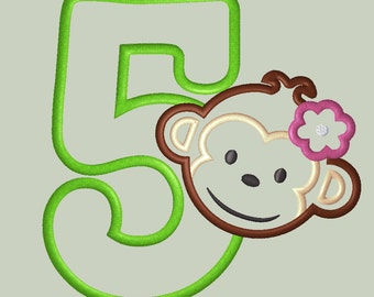 Mod Monkey Girl Applique Design with Number 5