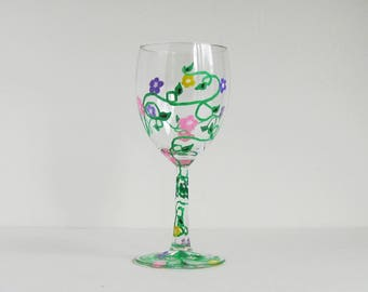Flower Glass, Rose Painted Glass, Painted Wine Glass, Wine Glass Gift, Wine Glass for Her, Wine Lover Gift, Wine Decor, Unique Wine Glass