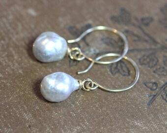 Silver Blue Pearl Earrings South Sea Pearl Earrings 14k Gold Filled Hoop Earrings Real Natural Pearls