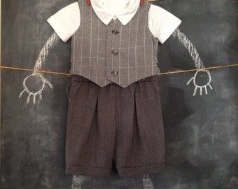 Ring Bearer Suit, Pleated Shorts, Short Sleeve Shirt, Lined Vest, Gray, Black, White, Plaid, Size 12-18 Months, Vintage Look
