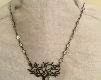 Black Tree Focal with Silver Bird Charm.