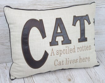Cat Cushion A Spoiled Cat Lives Here Cat Lovers Gift