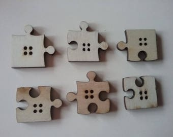 6 buttons puzzles env.20x25mm wood natural n36