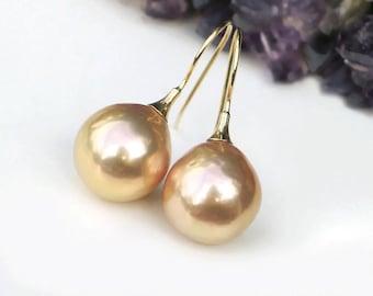 14k Baroque Pearl Earrings   Warm Golden Peach Champagne Edison Freshwater Pearls   14Kt Gold Hoops   Rosebud Pearl Drops   Ready to Ship