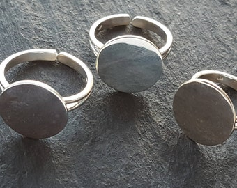 Solid Sterling Silver sturdy RING BLANK with 15mm pad , glue on silver ring pad , adjustable Blank silver ring for gluing cabochons (Small)