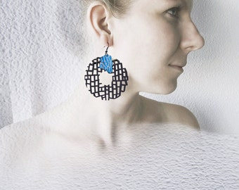 Unique designer earrings, modern, contemporary jewelry design, FREE shipping, original, large, lasercut wood, surgical steel, polymer clay
