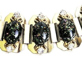 Black Confetti Vintage Cuff Bracelet