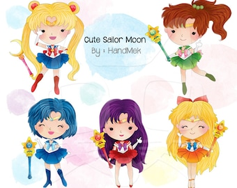 Cute Sailor Moon clipart Instant Download PNG file - 300 dpi.