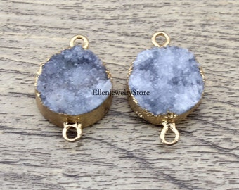 Charming 1-10Pcs 20mm Gray Agate Round Druzy Drusy Druzzy Slice Electroplated 24K Gold Plated Double Bail Connector-TR179