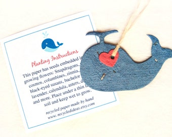 12 Seed Paper Whales - Baby Shower Favors - Nautical Wedding - Ahoy It's a Boy Favors