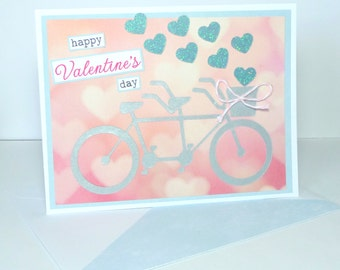 Happy Valentine's Day Tandem Bike Greeting Card - Handmade Paper Card for Him or Her