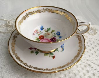 Grosvenor Fine Bone China Tea Cup and Saucer, Jackson & Gosling, Beautiful Hand Painted Floral with Gold Gilding and Trim
