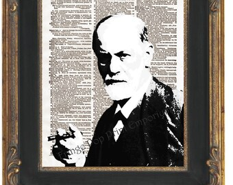 Sigmund Freud Art Print 8 x 10 Dictionary Page - Pop Art Psychiatry Psychology Psychoanalyst