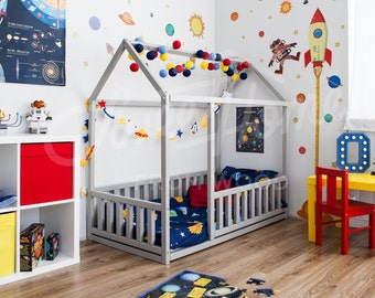 Children bed FULL/DOUBLE/Queen, frame bed, house bed, toddler nursery, children furniture wooden house, kids bedroom, home design