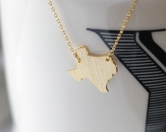 Texas State Necklace in gold, TX state necklace, gold state bar necklace, simple bar necklace, necklace for women, gift ideas