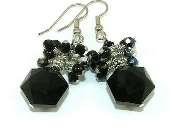 MAJOR MARKDOWN - Elegant Jet Black Wire Wrapped Crystal Cluster Statement Earrings