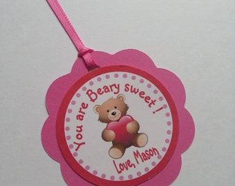 Teddy Bear Valentine Tags, You are Berry Sweet