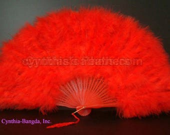 "Feather Fan, Red Marabou Feather Fan 11"" x 20"" Dancing Burlesque Decor Photography WB21"
