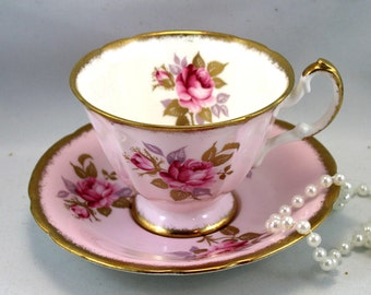 Beautiful, Paragon Teacup & Saucer, Lovely Pink Rose Pattern On Pink Background, Nicely Gilded Edges, Bone English China made in 1970s