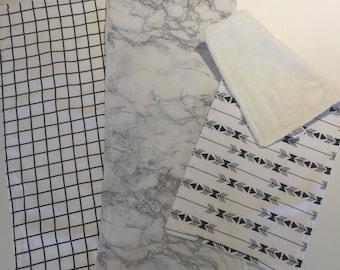 Burp Cloths - 3 pack - monochrome - babyshower gift