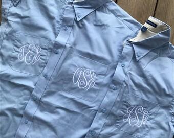 Monogram Bridal Button Down Oversized Shirt Custom Personalized