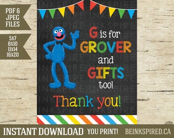 Sesame Street Party, Sesame Street Sign, Grover, Cookie Monster, Elmo, Gifts Sign, Sesame Street Decor, Printable Sign, INSTANT DOWNLOAD