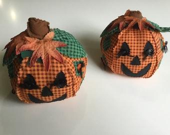 2 Vintage 1990s Plush Calico Pumpkins Halloween Jack-O-Lantern Fall Autumn