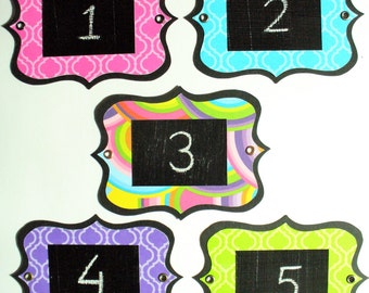 Funky Chalkboard Labels - multi-use, colourful and re-usable with metal eyelets. Set of 6