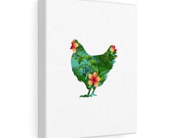 Floral Chicken Canvas Gallery Wraps