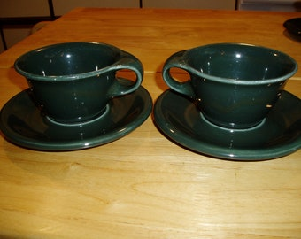 Two Russell Wright Ivy Green Cups and Saucers