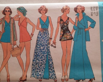 Simplicity 7498 Swimsuit, Reversible Wrap Skirt, and Shirt-Jacket in Half Sizes ~ Size 18 .5
