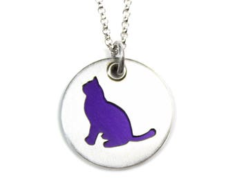 Purple Burmese Cat Pendant and Necklace in Sterling Silver, Pet Themed Gift for Her, Cat Lovers Jewelry, Colorful Jewelry, Free Shipping