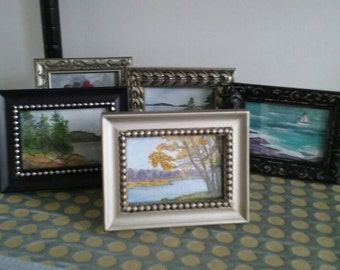 Miniature Painting Framed ACEO Artist Trading Card Landscape Seascape Watercolor Pen Ink Small Art Miniature Paintings ACEO Choose Frame