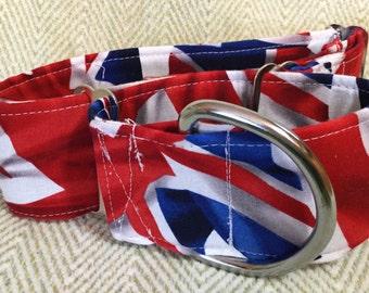 2  Inch Martingale, Dog Collar, Sighthound, Greyhound, Union Jack