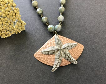 Starfish Necklace Statement Necklace Hammered Triangle Starfish Copper Pendant Beach Jewelry Czech Glass Opaque Luster Green Summer Necklace