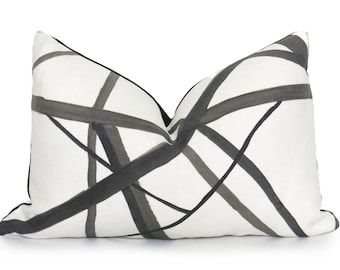Channels Pillow Cover - Kelly Wearstler Channels - Lumbar Pillow - Ebony - Black and Off-White -  Geometric Pillow - Neutral Pillow - Throw