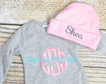 Baby girl monogrammed gown, baby girl take home outfit, monogrammed outfit pink and gray girls layette - Baby girl gift, baby shower gift