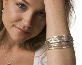 Sterling Silver Bangle Bracelets, silver bangles, sterling bangles, hammered bangles, silver hammered bangles, set of bangles